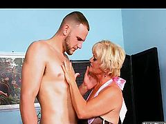 Hot granny likes this muscle stud