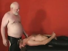 leather chubby daddy gets fucked