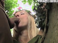 Poor maid Tinkerbell gets her ass and pussy ruined in the woods by Knobinhood