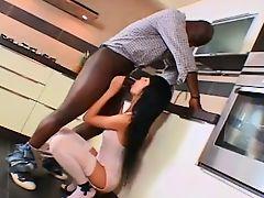 Brunette likes black dick