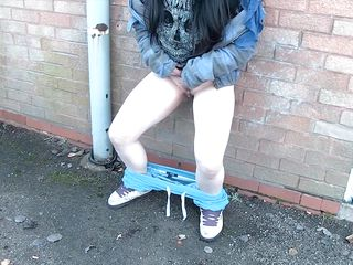 bad girl is caught masturbating outside