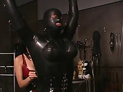 Seductive mistress plays in hottie in rubbersuit