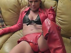 leather slut shemale love cum
