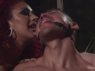 two hot ladies torture a bonded guy