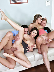 Sexy brunet euro babes get it on threesome on the couch hardcore scene