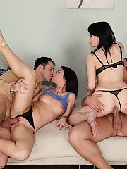 Horny brunet babes fuck two guys at the same time in hot orgy porn video