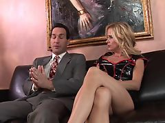 Blonde MILF wants cream pie finish in leather sofa sex