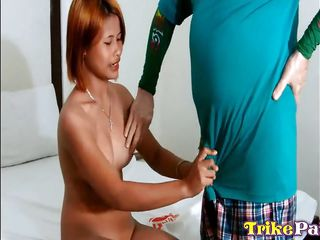 blonde-haired filipina blows dick and rides it