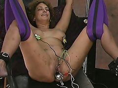 Master pulls on mature slaves bull ring nipple piercings