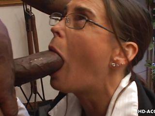cheyenne takes a huge black cock down her throat