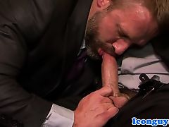 Mature suited hunk throating dick