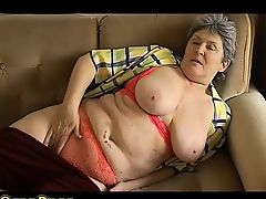 BBW Granny playing with electro toy