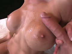 Blonde bitches huge tits bounce while she rides dick