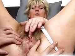 Old hairy vagina of grandma Hana fingered with 3 fingers