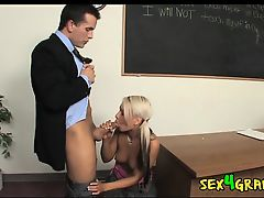 Young Blonde Pays Teacher With Her Busty Body