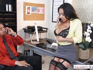 quickie in the office with busty colleague