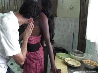 real african girl was fucked on the kitchen