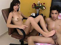 Beautiful brunette teen footjob for boyfriend on webcam