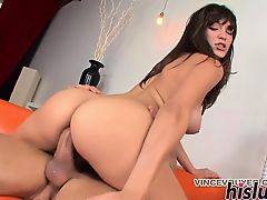 Stunning Holly Michaels rides a massive dick