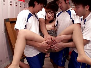 hot japanese babe gets her hole drilled by four horny guys