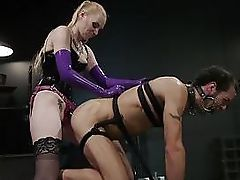 Svelte Blonde Dom Punishes and Fucks Slave