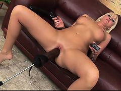 Busty Blonde Fucks a Sex Machine