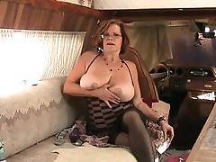 BBW Granny Fucks Ass With Dildo While Smoking