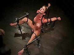 Hardcore bondage, pegs on her nipples and brutal toy in her pussy