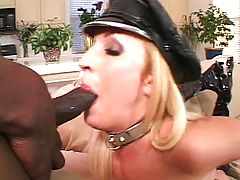 Filthy latex whore bouncing on black cock