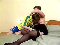 Granny in Stockings Treats the Boy