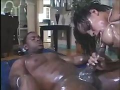 Jazmine Cashmere gets all oiled up and sucks and fucks black cock