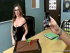 Vulgar busty teacher seduces the father of her favorite pupil