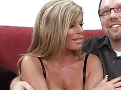 Stunning blonde MILF sucks cock in front of her husband