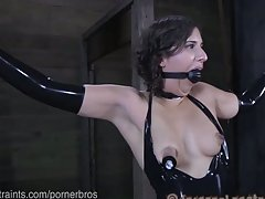 Girl next door bound wearing latex dress