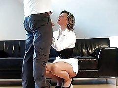 German Fantastci Handjob in front of him white dress heels