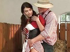 Country girls gets her ass fucked in the hay
