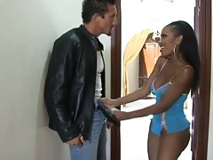 Gorgeous ebony babe Lacey DuValle sucks Tommy Gunn's dick before riding it
