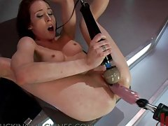 Skinny Brunette Dominated By Fuck Machine