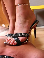 These ladies know how to use sharp heels trampling a leashed slave