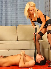 Sweet blonde mistress with amazing feet trampling the disobedient guy