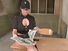Naughty Jailhouse Warden Jessica Moore Playing with Two Bad Boys