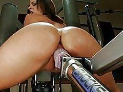 Bubble Butt Brunette Slut Fucked By Sex Toys