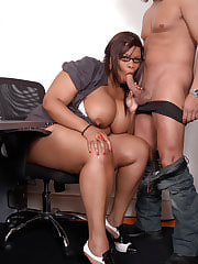 Black BBW secretary nails boss