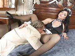 Sexy maid stracy stone polish her master's pole