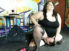 Bbw mistress with her young slave