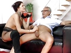 Nylon babe treats a dirty old cock