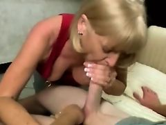 Blonde mature sucks his younger cock